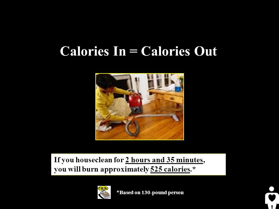 *Based on 130-pound person If you houseclean for 2 hours and 35 minutes, you will burn approximately 525 calories.* Calories In = Calories Out