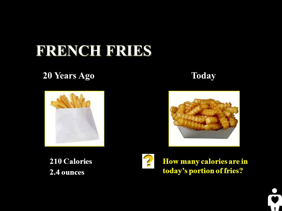 FRENCH FRIES 20 Years AgoToday 210 Calories 2.4 ounces How many calories are in todays portion of fries