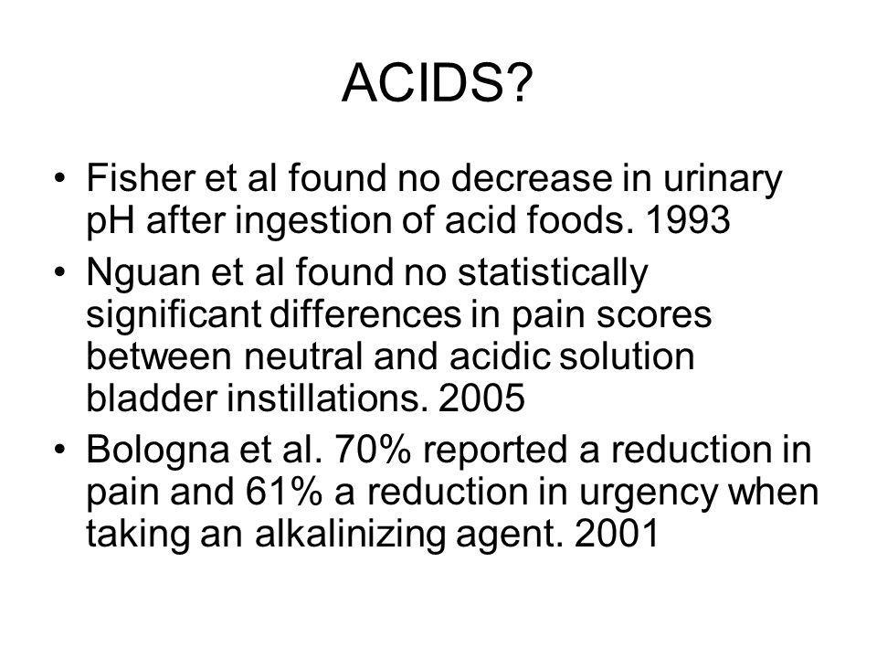 ACIDS. Fisher et al found no decrease in urinary pH after ingestion of acid foods.