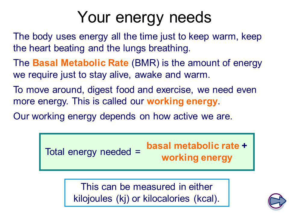 Your energy needs The body uses energy all the time just to keep warm, keep the heart beating and the lungs breathing. The Basal Metabolic Rate (BMR)