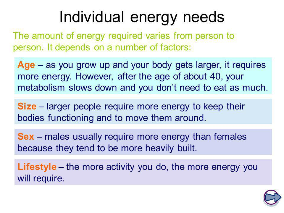 Individual energy needs Age – as you grow up and your body gets larger, it requires more energy. However, after the age of about 40, your metabolism s