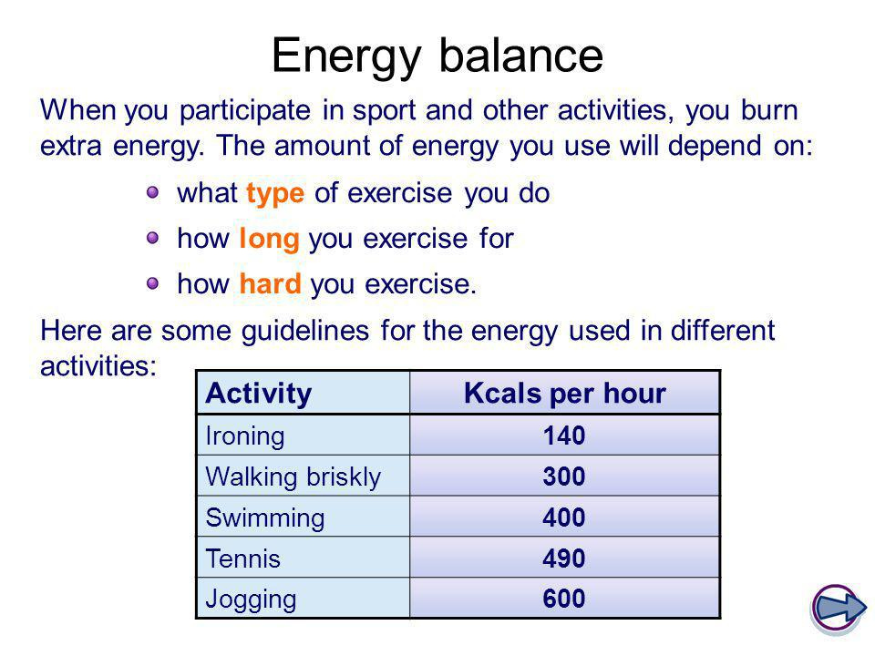 Energy balance When you participate in sport and other activities, you burn extra energy. The amount of energy you use will depend on: what type of ex