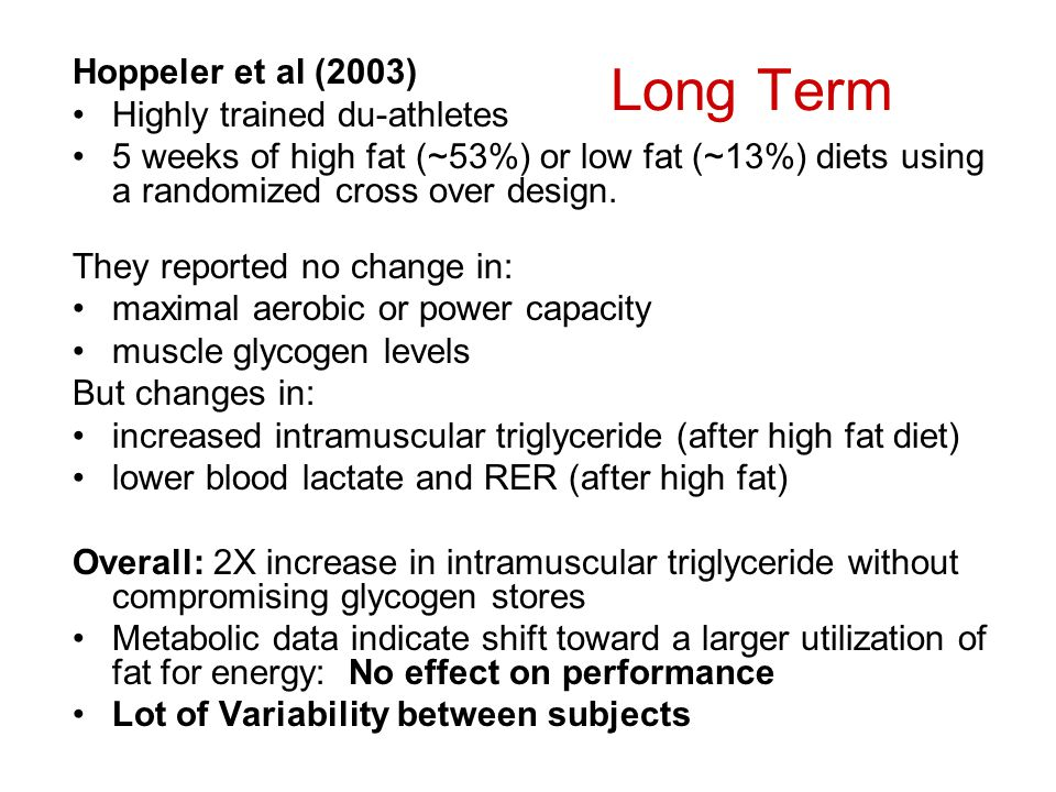 Long Term Hoppeler et al (2003) Highly trained du-athletes 5 weeks of high fat (~53%) or low fat (~13%) diets using a randomized cross over design. Th