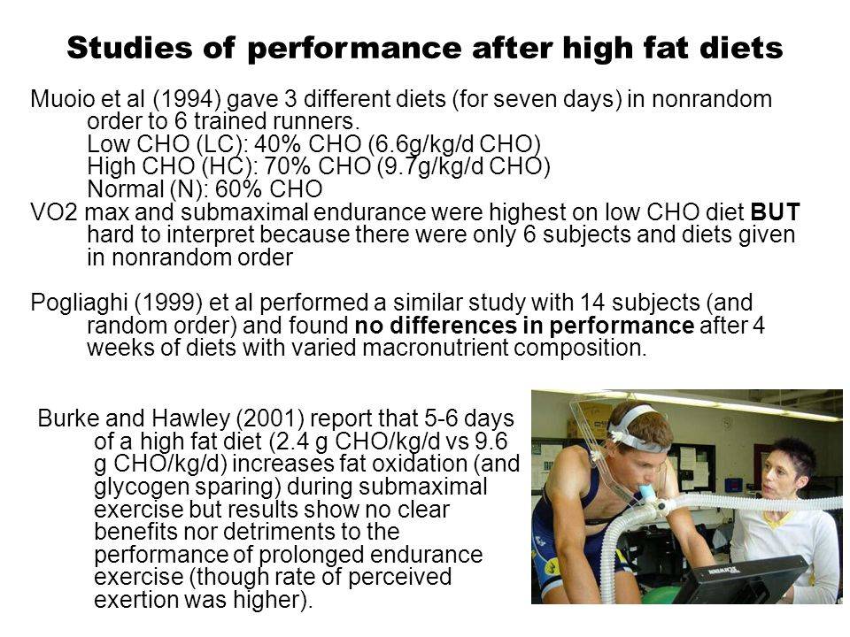 Summary and Recommendations Athletes eating a diet of 55-65% CHO should consume 20-25% (30%?) fat.