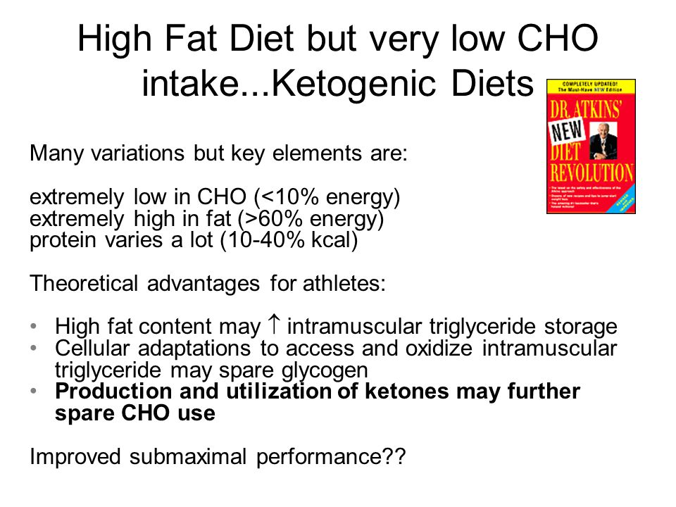 Short Term Low CHO/High FAT and Performance Langfort et al (1996) 8 untrained men mixed or ketogenic (50% fat, 45 % protein, 5% CHO) diets for 3 days and measured performance and metabolic markers.