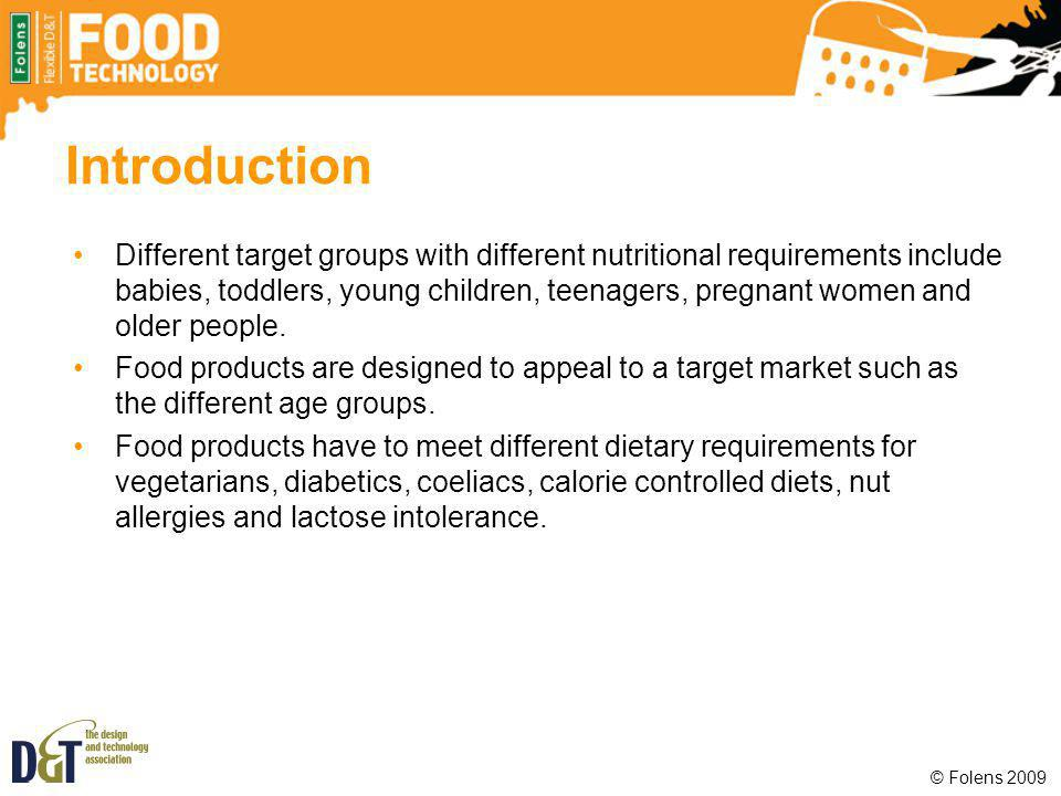 Plenary List five special dietary needs that food producers must be aware of.