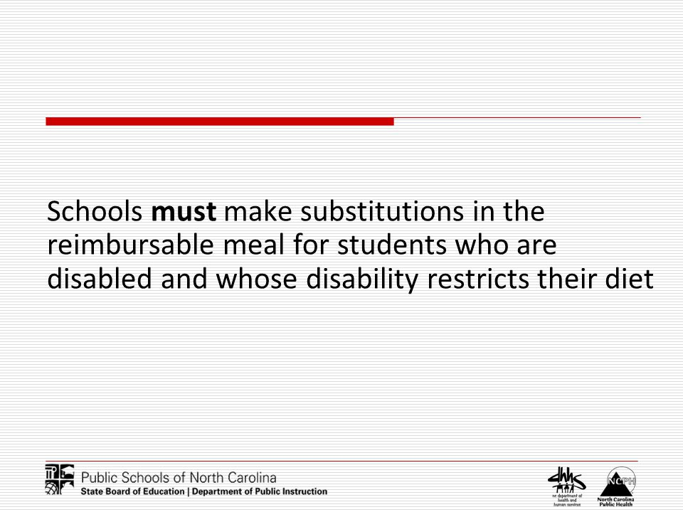 Schools must make substitutions in the reimbursable meal for students who are disabled and whose disability restricts their diet
