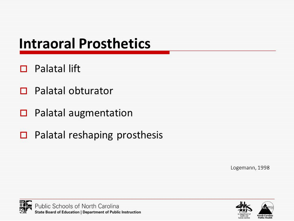 Intraoral Prosthetics Palatal lift Palatal obturator Palatal augmentation Palatal reshaping prosthesis Logemann, 1998