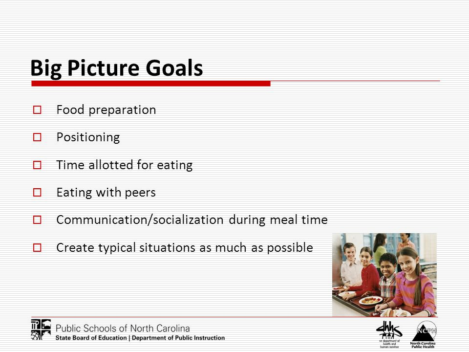Big Picture Goals Food preparation Positioning Time allotted for eating Eating with peers Communication/socialization during meal time Create typical situations as much as possible