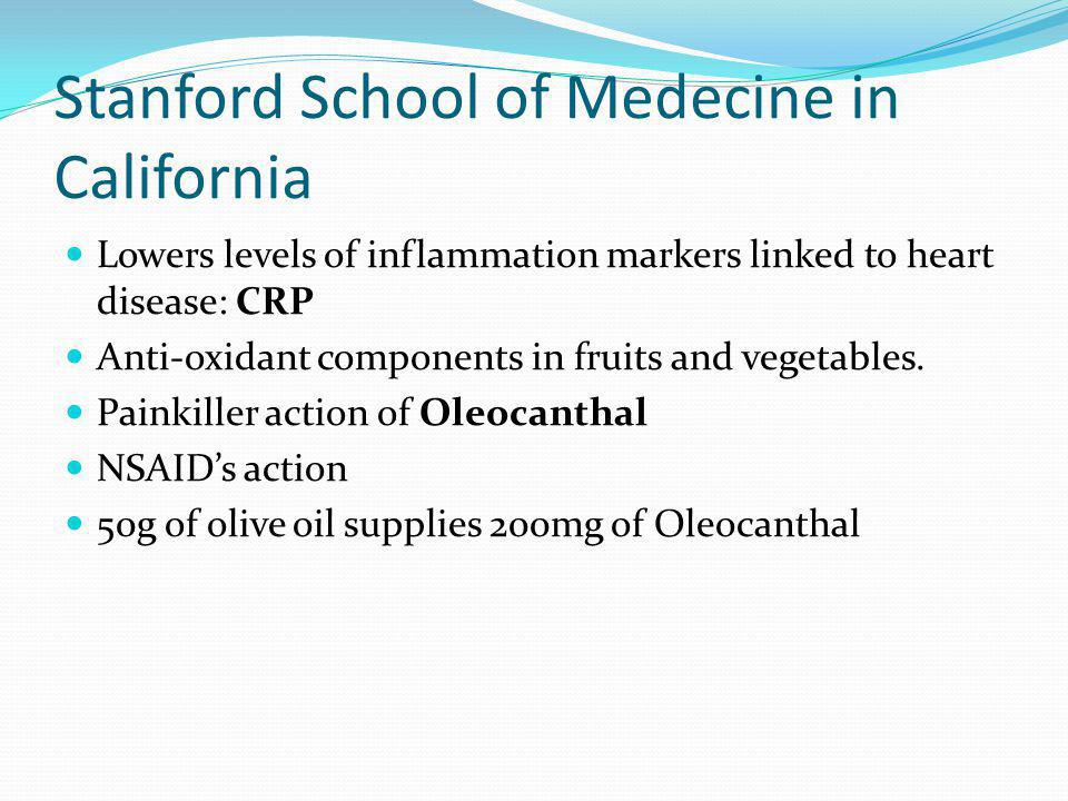 Stanford School of Medecine in California Lowers levels of inflammation markers linked to heart disease: CRP Anti-oxidant components in fruits and veg