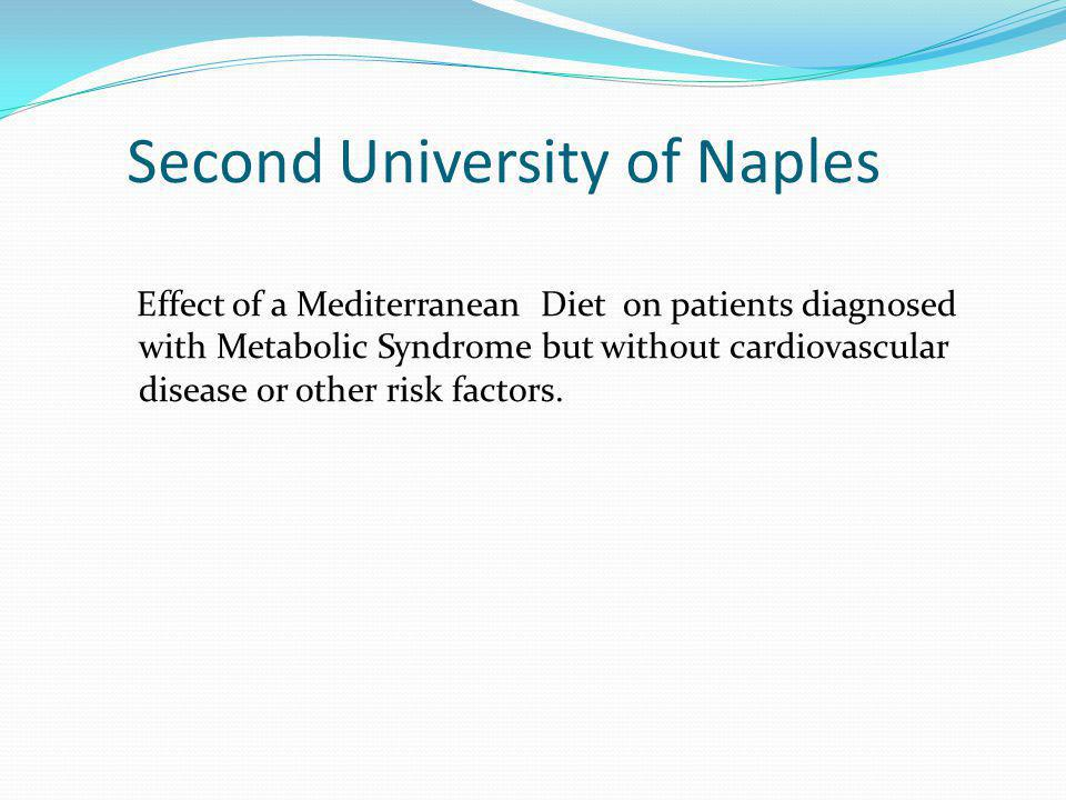 Second University of Naples Effect of a Mediterranean Diet on patients diagnosed with Metabolic Syndrome but without cardiovascular disease or other r