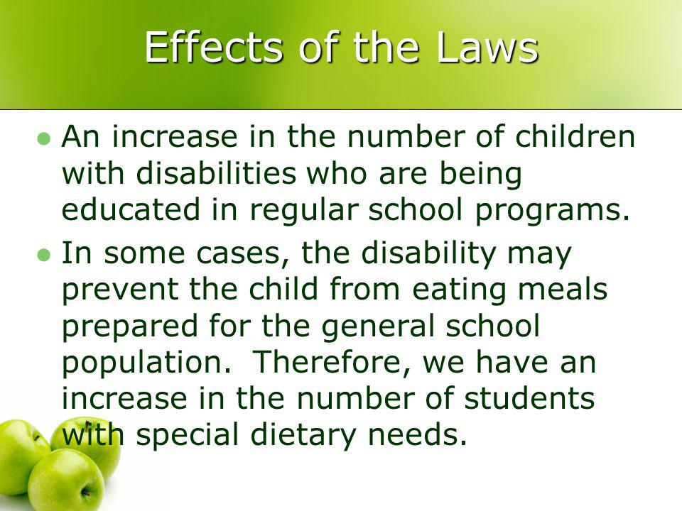 Regulations USDAs nondiscrimination regulation Regulations governing the National School Lunch Program and School Breakfast Program Clearly state that substitutions to the regular meal must be made for children who are unable to eat school meals because of their disabilities, when that need is certified by a licensed physician.