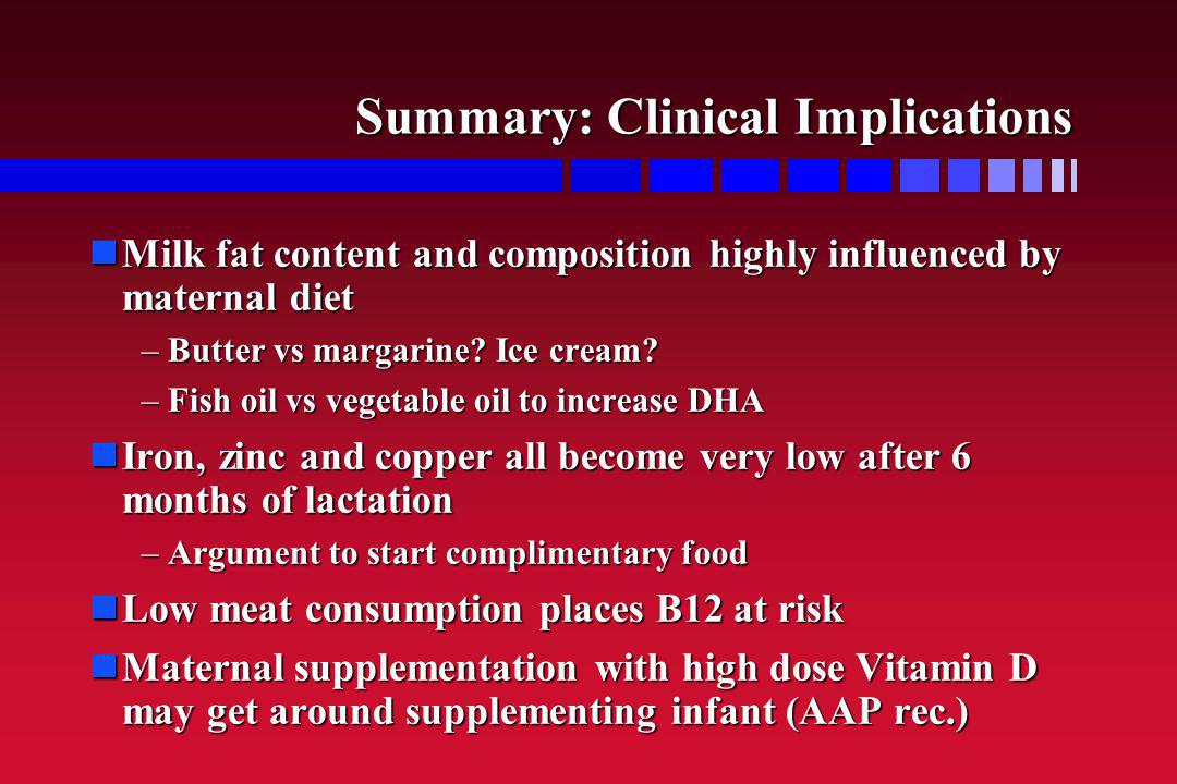 Summary: Clinical Implications Milk fat content and composition highly influenced by maternal diet Milk fat content and composition highly influenced