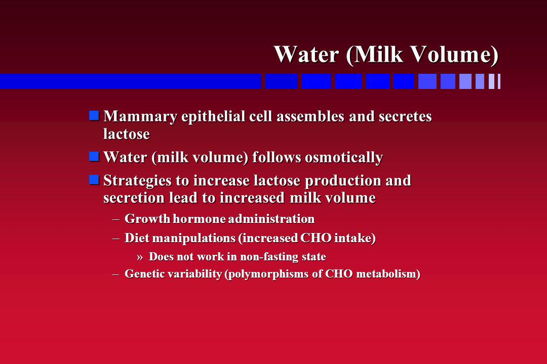 Minerals Major minerals are sodium, potassium, chloride Major minerals are sodium, potassium, chloride Determined largely by osmotic forces (milk volume) Determined largely by osmotic forces (milk volume) –Active Na and K pumps Na, K, Cl are determined by electrical gradient in secretory cells and not affected by maternal diet Na, K, Cl are determined by electrical gradient in secretory cells and not affected by maternal diet No specific IOM recommendations for these minerals No specific IOM recommendations for these minerals