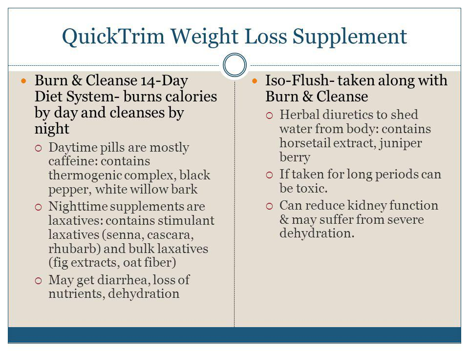 QuickTrim Weight Loss Supplement Burn & Cleanse 14-Day Diet System- burns calories by day and cleanses by night Daytime pills are mostly caffeine: con