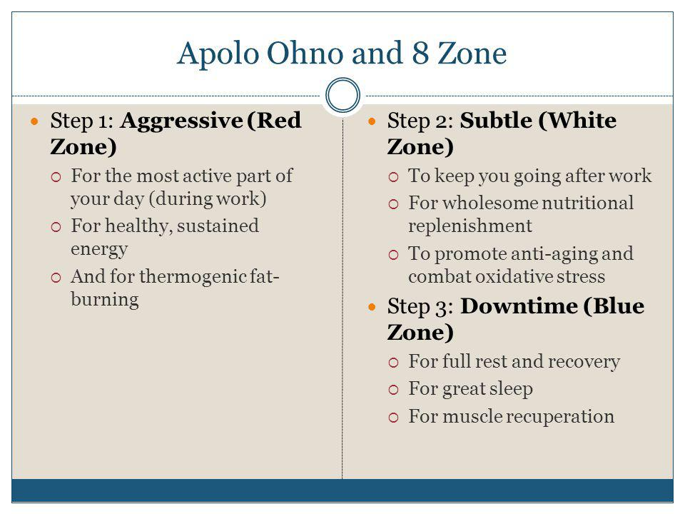 Apolo Ohno and 8 Zone Step 1: Aggressive (Red Zone) For the most active part of your day (during work) For healthy, sustained energy And for thermogen