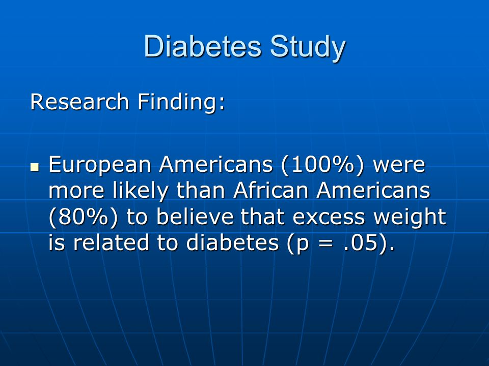Diabetes Study Research Finding: European Americans (100%) were more likely than African Americans (80%) to believe that excess weight is related to diabetes (p =.05).