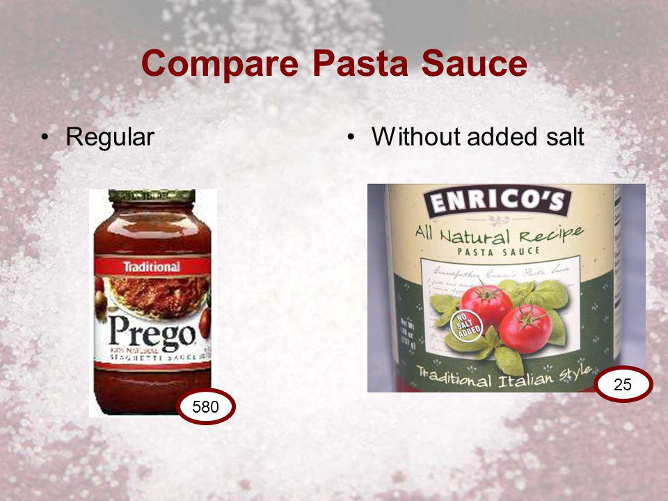 Compare Pasta Sauce RegularWithout added salt 580 25