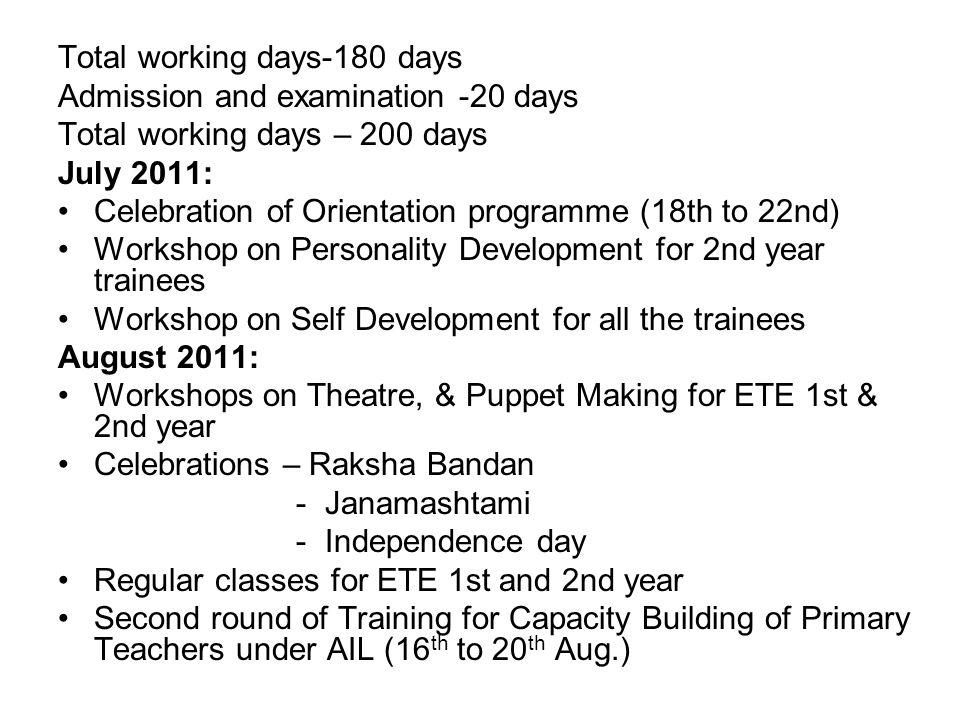 Total working days-180 days Admission and examination -20 days Total working days – 200 days July 2011: Celebration of Orientation programme (18th to