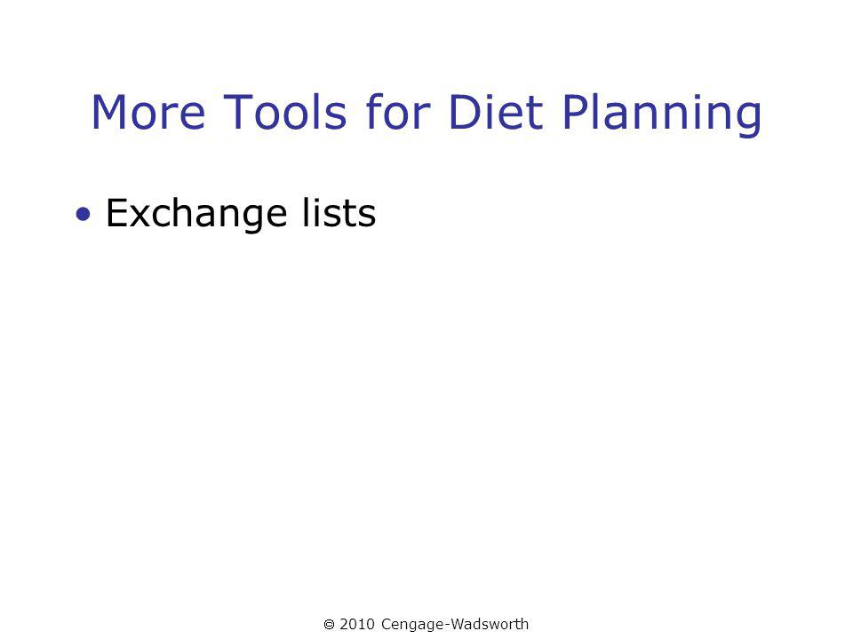 2010 Cengage-Wadsworth More Tools for Diet Planning Exchange lists
