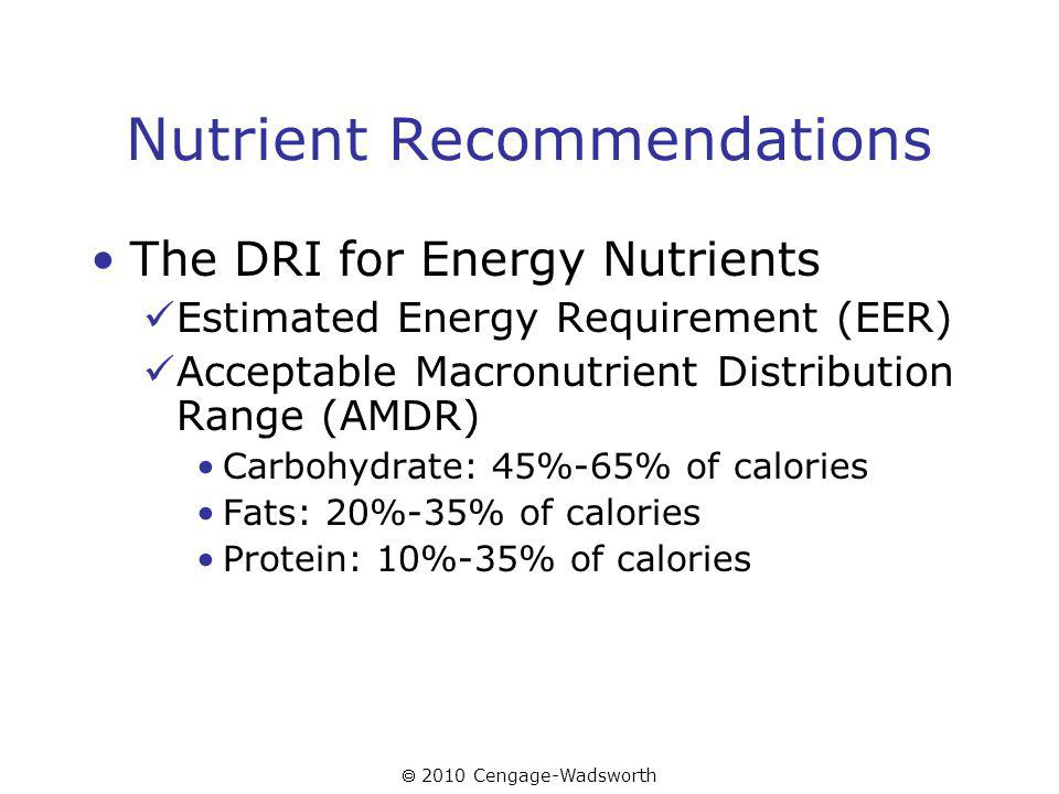 2010 Cengage-Wadsworth Nutrient Recommendations The DRI for Energy Nutrients Estimated Energy Requirement (EER) Acceptable Macronutrient Distribution Range (AMDR) Carbohydrate: 45%-65% of calories Fats: 20%-35% of calories Protein: 10%-35% of calories