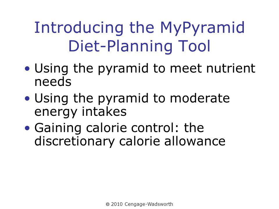 2010 Cengage-Wadsworth Introducing the MyPyramid Diet-Planning Tool Using the pyramid to meet nutrient needs Using the pyramid to moderate energy intakes Gaining calorie control: the discretionary calorie allowance