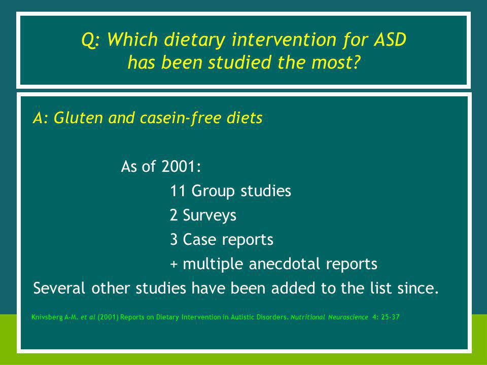 Q: Which dietary intervention for ASD has been studied the most.