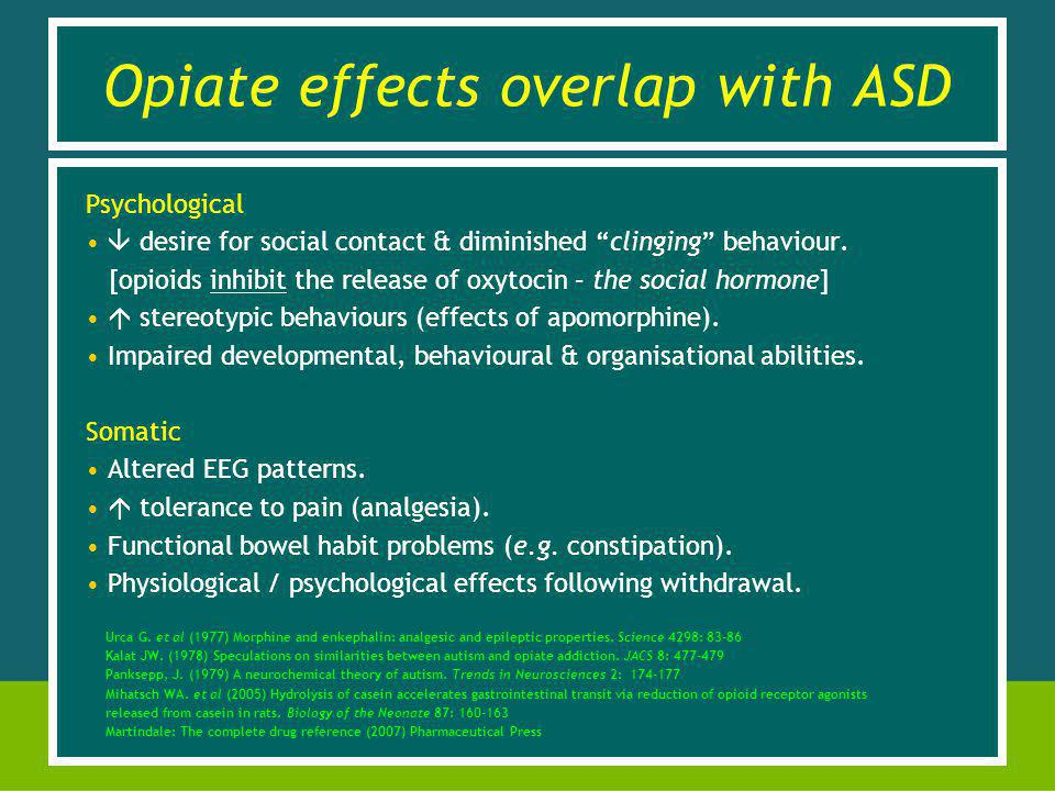 Opiate effects overlap with ASD Psychological desire for social contact & diminished clinging behaviour.
