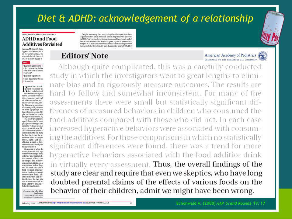 Schonwald A. (2008) AAP Grand Rounds 19: 17 Diet & ADHD: acknowledgement of a relationship