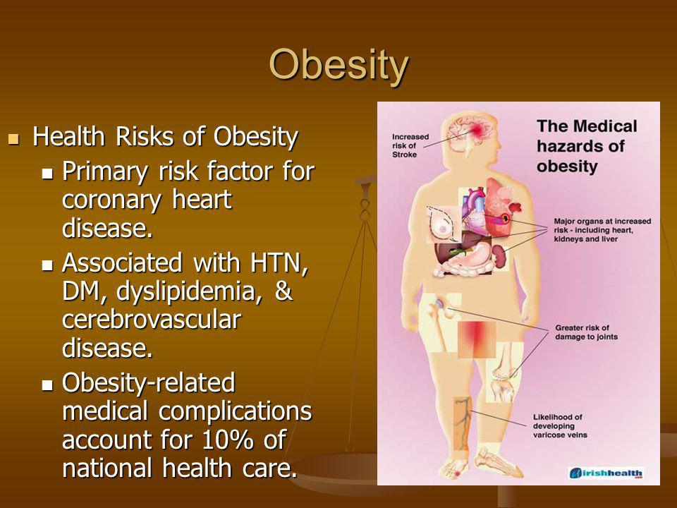Obesity Health Risks of Obesity Health Risks of Obesity Primary risk factor for coronary heart disease. Primary risk factor for coronary heart disease
