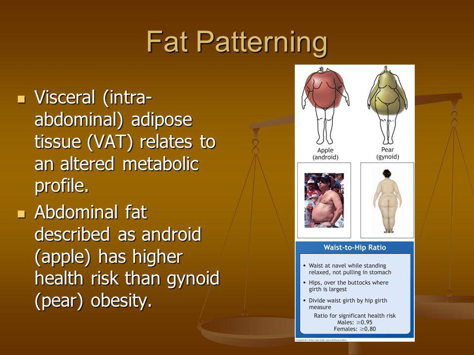 Fat Patterning Visceral (intra- abdominal) adipose tissue (VAT) relates to an altered metabolic profile. Visceral (intra- abdominal) adipose tissue (V