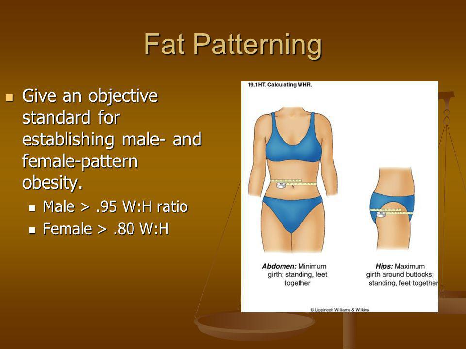 Fat Patterning Give an objective standard for establishing male- and female-pattern obesity. Give an objective standard for establishing male- and fem