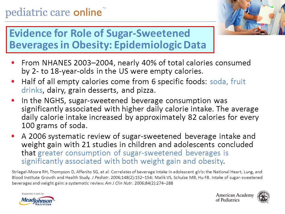 TM From NHANES 2003–2004, nearly 40% of total calories consumed by 2- to 18-year-olds in the US were empty calories.