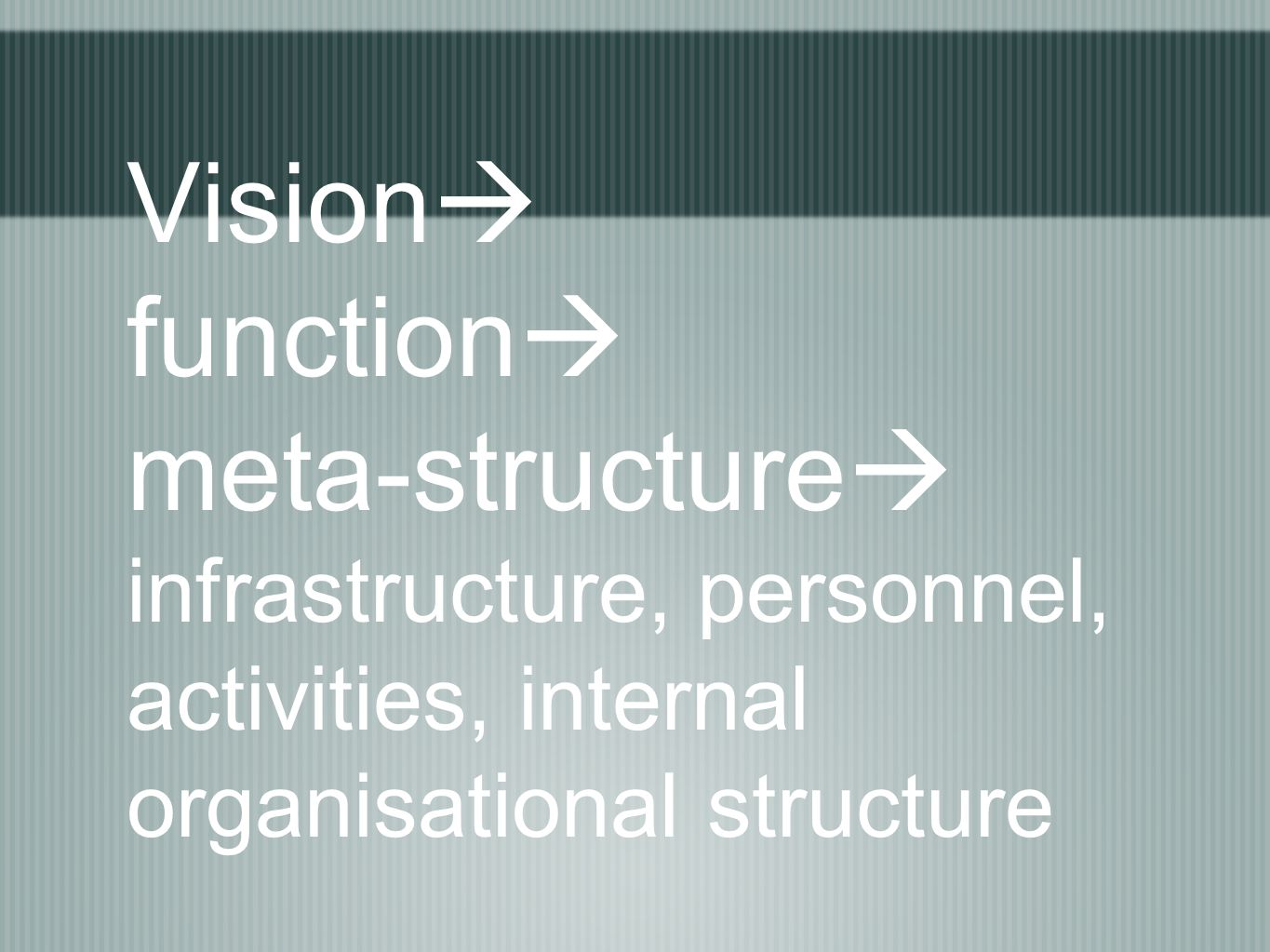 Vision function meta-structure infrastructure, personnel, activities, internal organisational structure