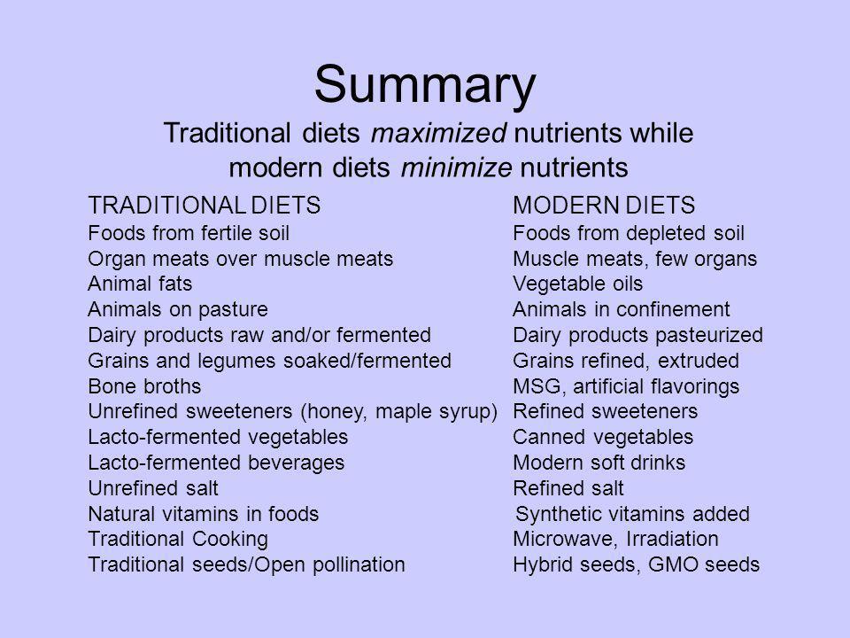 Summary Traditional diets maximized nutrients while modern diets minimize nutrients TRADITIONAL DIETSMODERN DIETS Foods from fertile soilFoods from de