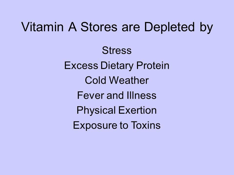 Stress Excess Dietary Protein Cold Weather Fever and Illness Physical Exertion Exposure to Toxins Vitamin A Stores are Depleted by