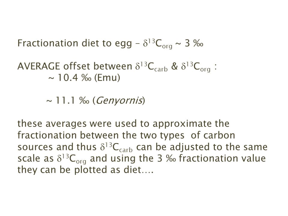 Fractionation diet to egg – 13 C org ~ 3 AVERAGE offset between 13 C carb & 13 C org : ~ 10.4 (Emu) ~ 11.1 (Genyornis) these averages were used to approximate the fractionation between the two types of carbon sources and thus 13 C carb can be adjusted to the same scale as 13 C org and using the 3 fractionation value they can be plotted as diet….