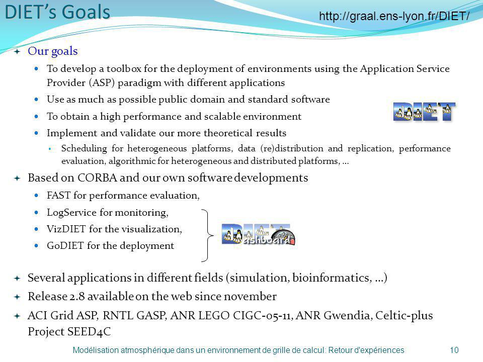 DIETs Goals Our goals To develop a toolbox for the deployment of environments using the Application Service Provider (ASP) paradigm with different app