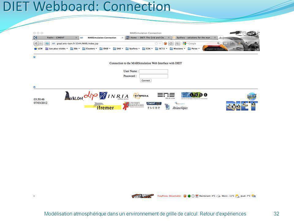 DIET Webboard: Connection Modélisation atmosphérique dans un environnement de grille de calcul: Retour d'expériences32