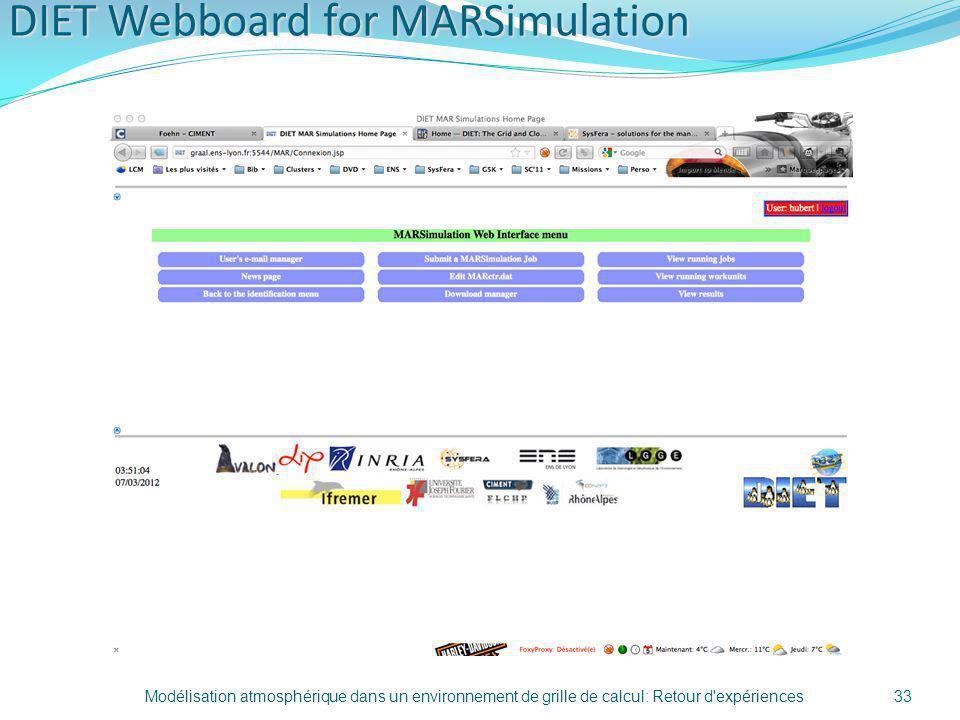 DIET Webboard for MARSimulation Modélisation atmosphérique dans un environnement de grille de calcul: Retour d'expériences33