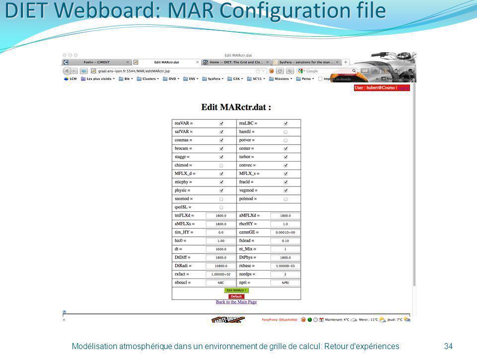 DIET Webboard: MAR Configuration file Modélisation atmosphérique dans un environnement de grille de calcul: Retour d'expériences34