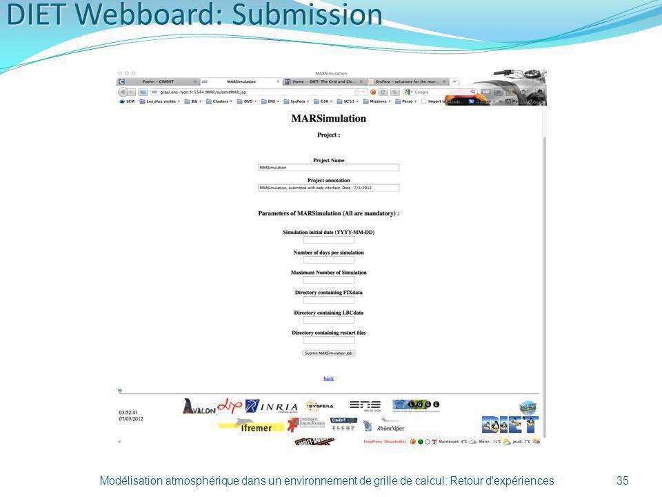 DIET Webboard: Submission Modélisation atmosphérique dans un environnement de grille de calcul: Retour d'expériences35