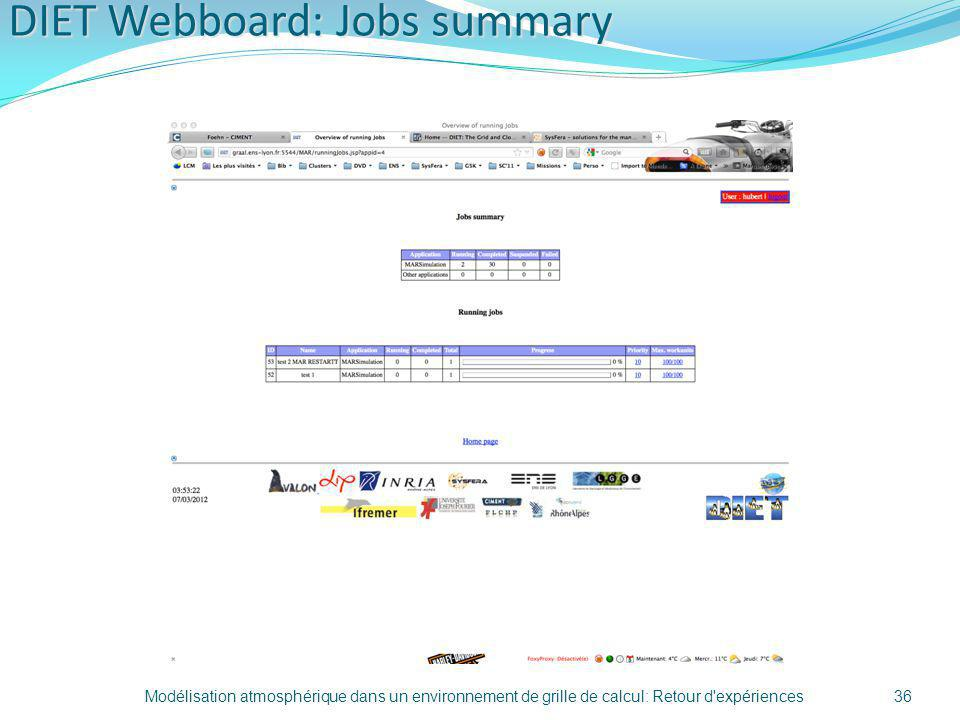 DIET Webboard: Jobs summary Modélisation atmosphérique dans un environnement de grille de calcul: Retour d'expériences36