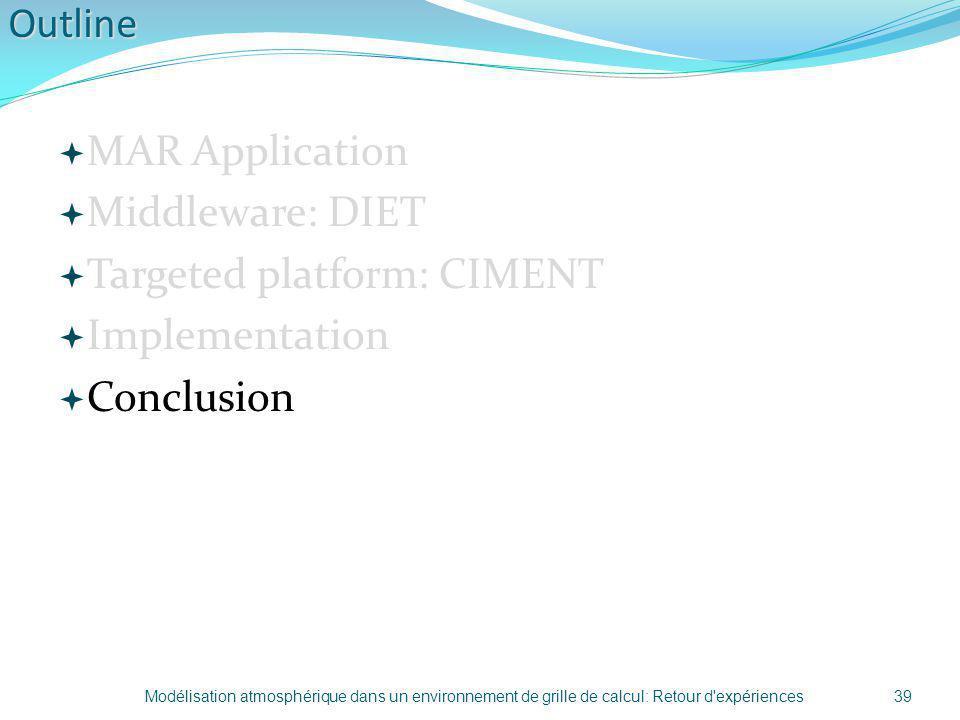Outline MAR Application Middleware: DIET Targeted platform: CIMENT Implementation Conclusion 39Modélisation atmosphérique dans un environnement de gri