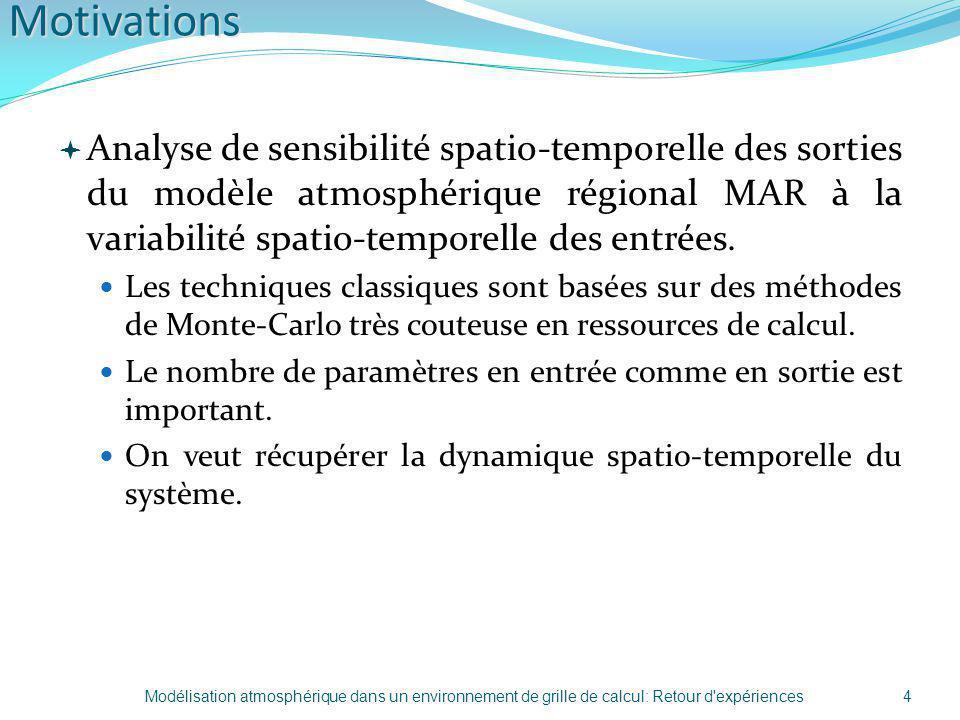 Motivations Analyse de sensibilité spatio-temporelle des sorties du modèle atmosphérique régional MAR à la variabilité spatio-temporelle des entrées.