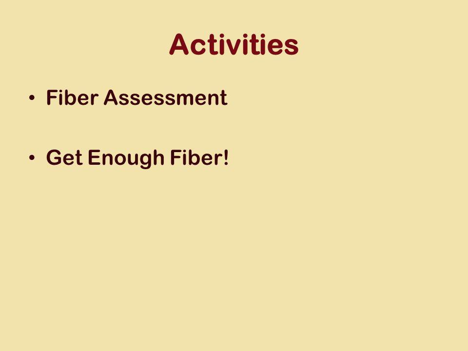 Activities Fiber Assessment Get Enough Fiber!