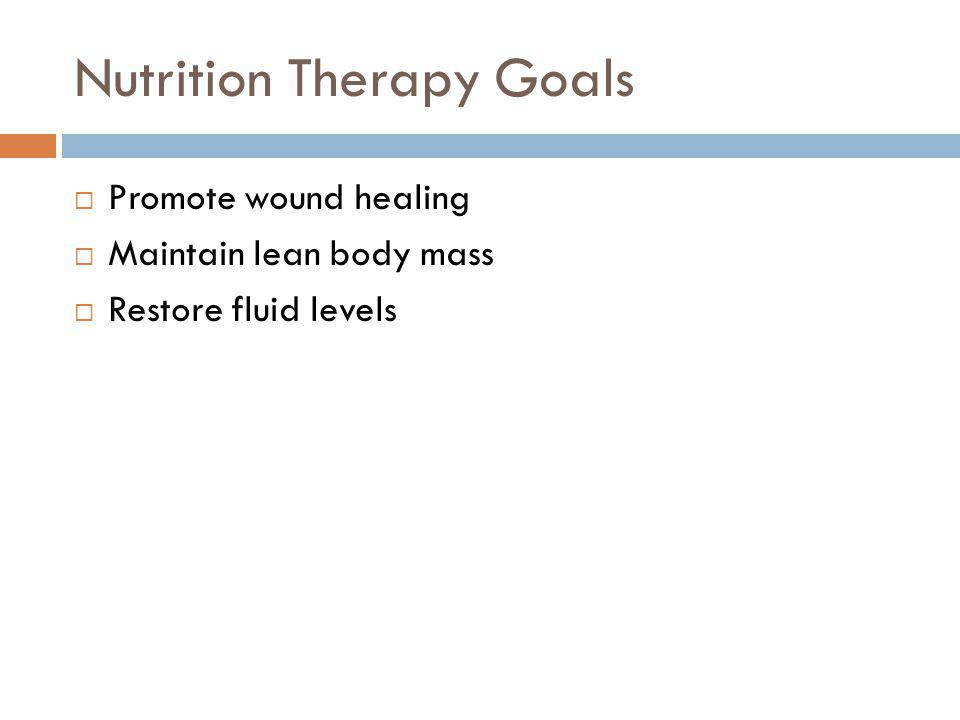 Nutrition Therapy Goals Promote wound healing Maintain lean body mass Restore fluid levels