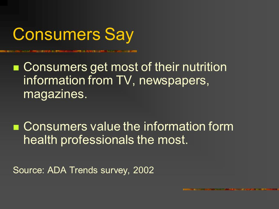 Consumers get most of their nutrition information from TV, newspapers, magazines.