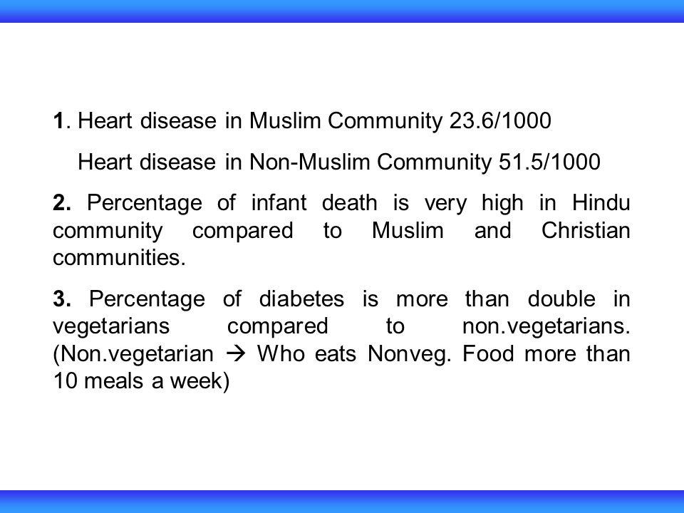 1. Heart disease in Muslim Community 23.6/1000 Heart disease in Non-Muslim Community 51.5/1000 2. Percentage of infant death is very high in Hindu com