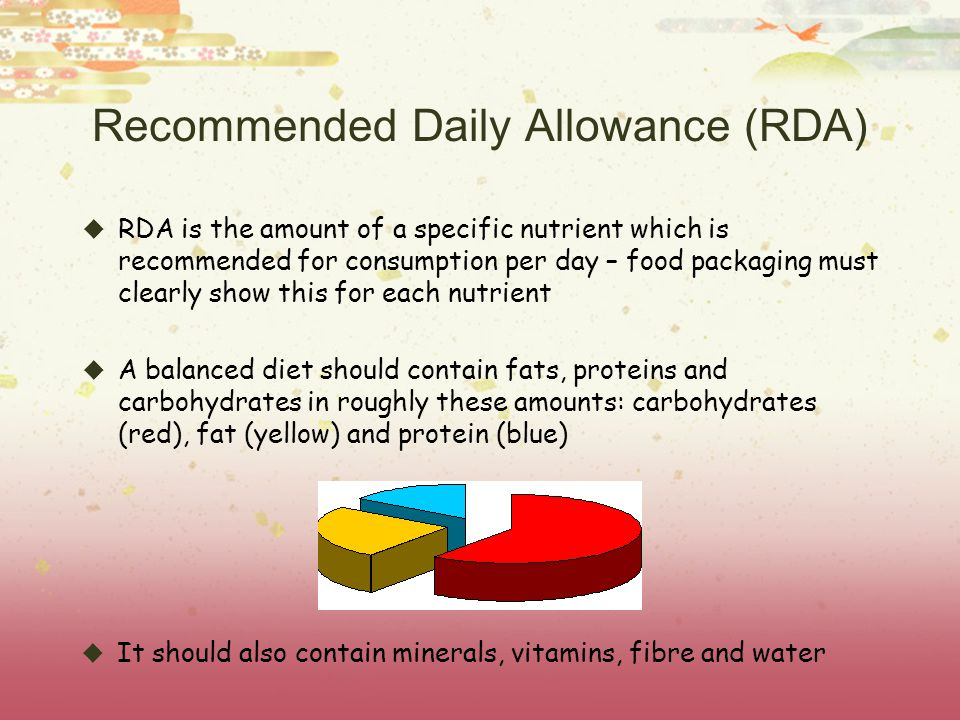 Recommended Daily Allowance (RDA) RDA is the amount of a specific nutrient which is recommended for consumption per day – food packaging must clearly show this for each nutrient A balanced diet should contain fats, proteins and carbohydrates in roughly these amounts: carbohydrates (red), fat (yellow) and protein (blue) It should also contain minerals, vitamins, fibre and water